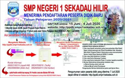 PENERIMAAN PESERTA DIDIK BARU SMPN 1 SEKADAU HILIR TAHUN AJARAN 2020/2021